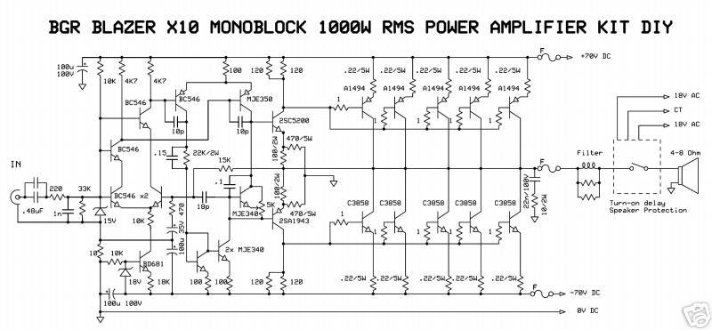 1000watt Audio Power Amplifier Blazer Circuit The Circuit