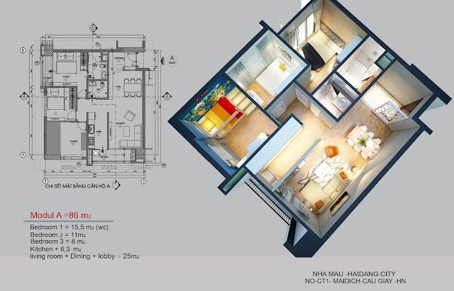 Mặt bằng căn hộ 0515 tòa CT1A chung cư Hải Đăng City
