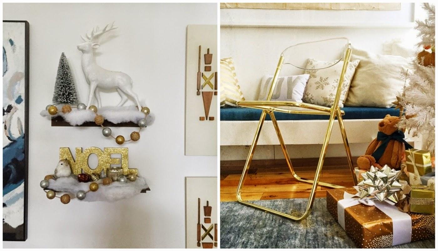 decoração natalina de Emily Henderson combinando branco com azul e dourado