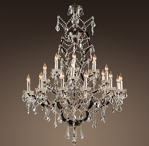 RESTORATION HARDWARE 19TH C. ROCOCO IRON & CRYSTAL CHANDELIER