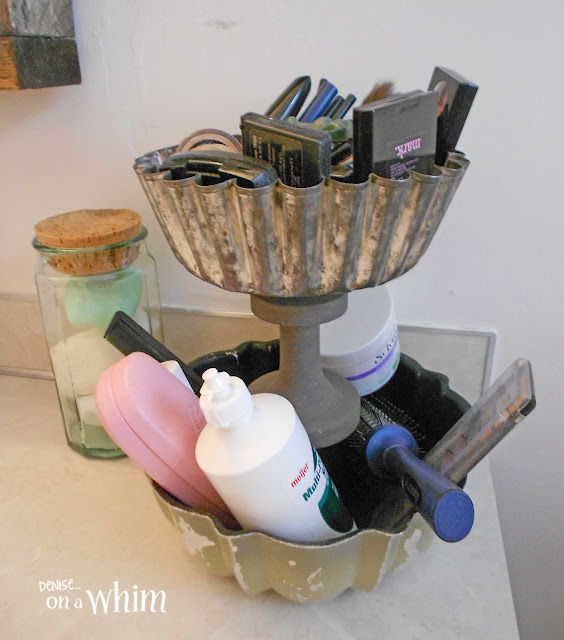 Tiered Stand and Glass jar with Soaps | Vintage Farmhouse Bathroom Makeover | Denise on a Whim