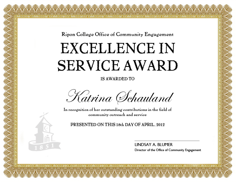 Doing more together 2012 excellence in service award for Length of service certificate template