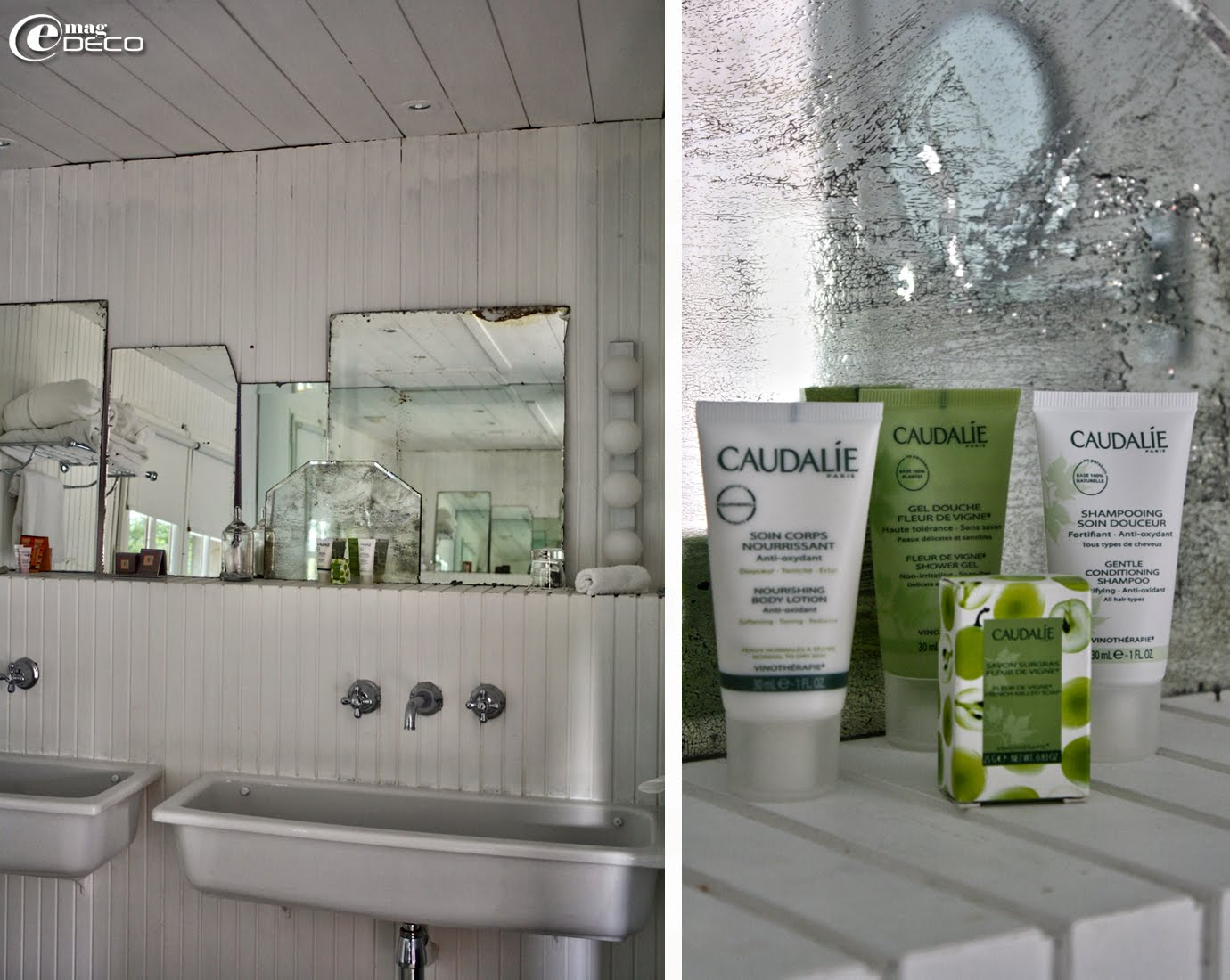 Lavabos collectifs auge Porcher, vieux miroirs au mercure, Salle de bain de la Suite L'Île aux Oiseaux, Les Sources de Caudalie
