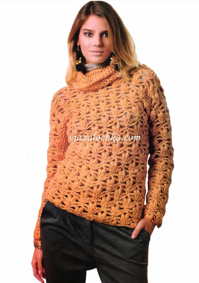 TRICO y CROCHET-madona-mía: Jersey de invierno a crochet para mujer ...