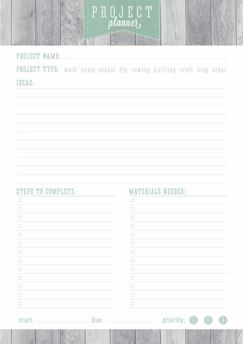 Free Printable Home Organizer Project Planner