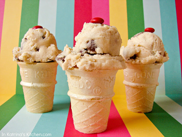 Mini Cookie Dough Ice Cream Cones *Egg-Free, Safe to Eat Raw* @katrinaskitchen