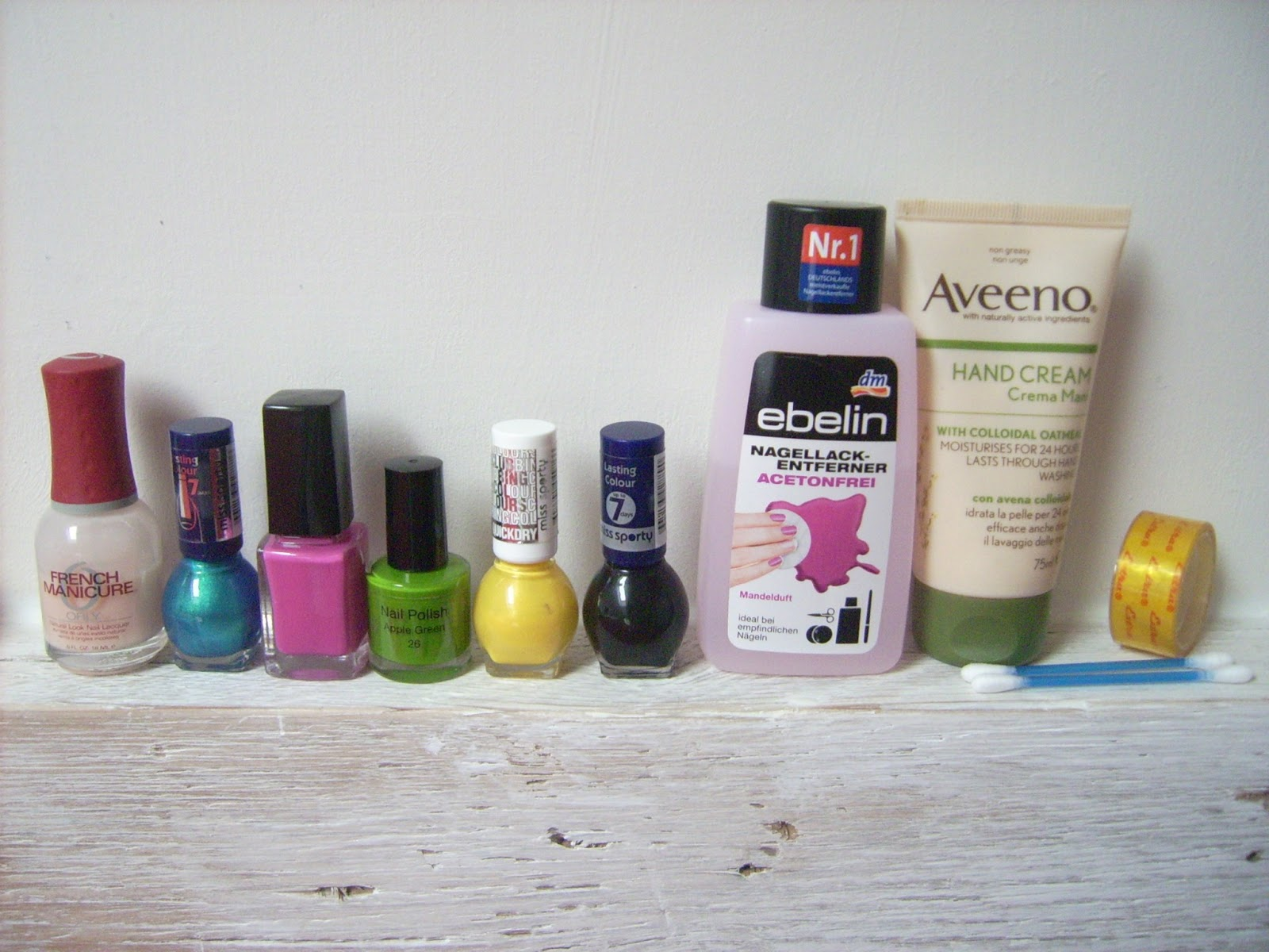 orly, miss sporty, ebelin, aveeno hand cream