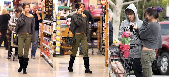 Selena Gomez and Justin Beiber shopping at Encino, California