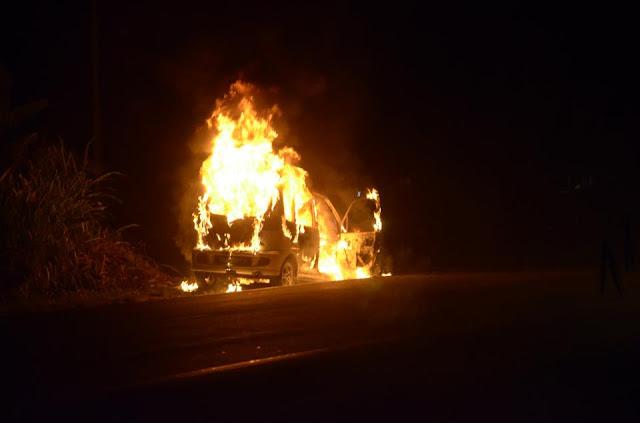 kejadian kereta terbakar di Kota Marudu