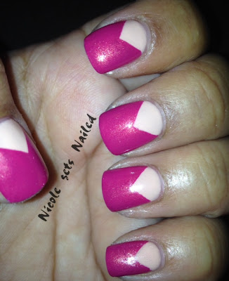 Pink Chevron Modified French Manicure