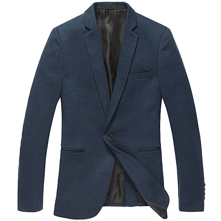 navy blazer with single button and tailored edges