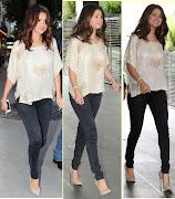 Selena Gomez parlak krem rengi Janey Lopaty Vintage bluzu , siyah jean ve .