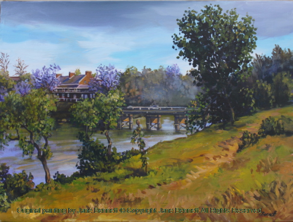 plein air oil painting of the historic Windsor Bridge across the Hawkesbury River painted by artist Jane Bennett