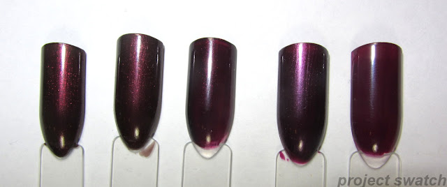 Swatches - 1 - Wet n Wild Megalast Under Your Spell; 2 - Maybelline Auburn Ablaze, 3 - OPI Black Cherry Chutney, 4 - Wet n Wild Megalast Lethal Injection, 5- NYC Manhattan