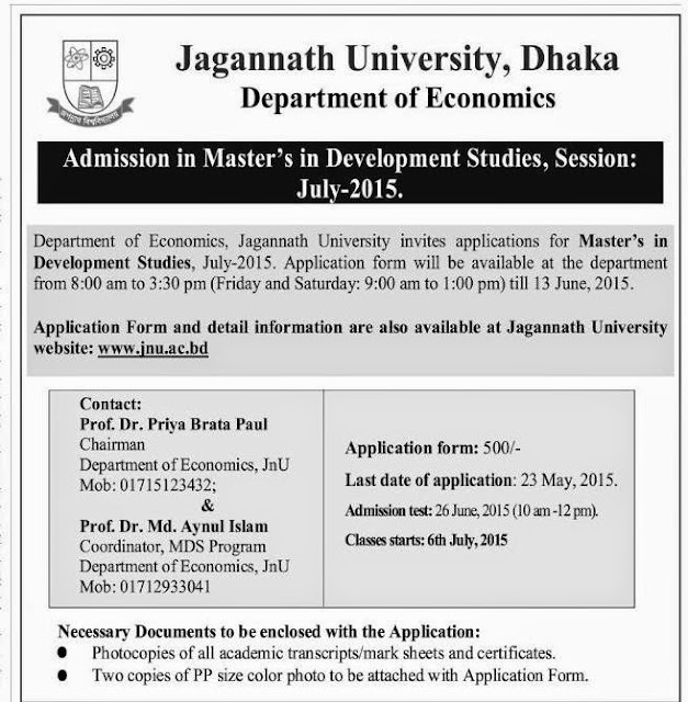 Admission in Masters Circular, Jagannath University