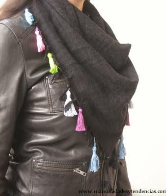DIY pañuelo con borlas / tassel scarf / pompons