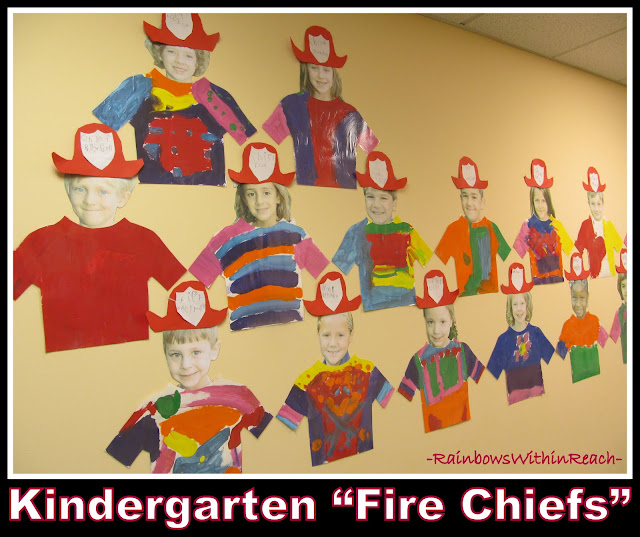 "photo of: Kindergarten ""Fire Chief"" Self Portraits via RainbowsWIthinReach"