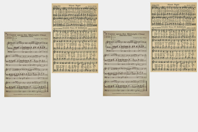antique sheet music printables for Christmas tree ornaments - KnickofTime.net