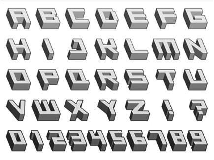 Letras abecedario 3D - Imagui