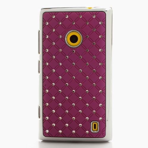 Bling Diamond Starry Sky Plated Hard Case for Nokia Lumia 520 525 - Purple