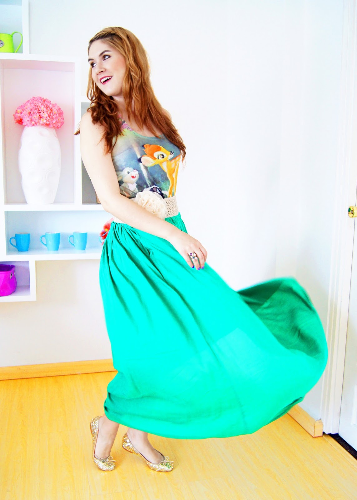 green maxi skirt, disney, disney shirt, bambi, bambi shirt, hot topic top, disney clothes, spring fashion