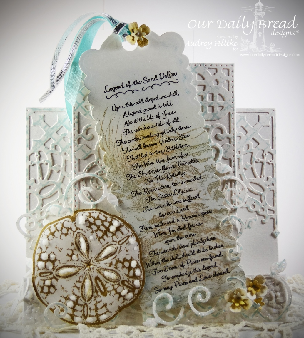 Stamps - Our Daily Bread Designs Sand Dollar Bookmark, Ocean Treasures, The Mighty Sea, ODBD Custom Bookmark Die, ODBD Custom Decorative Corner Die, ODBD Custom Fancy Foliage Die, ODBD Fun and Fancy Folds Center Step Card