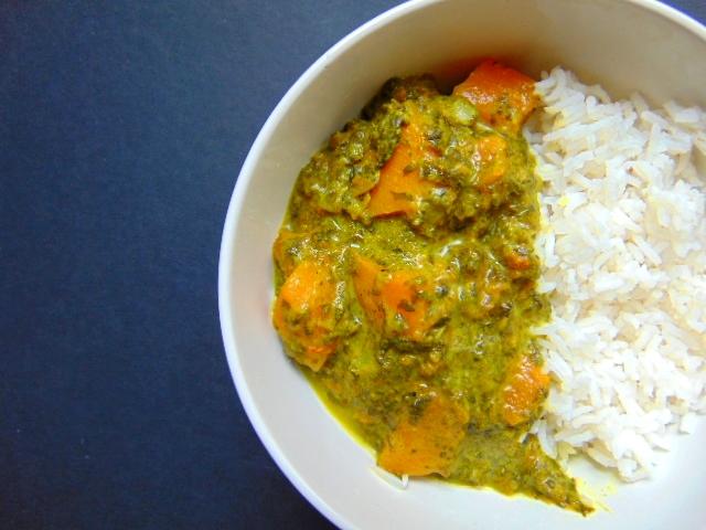 Curry de butternut aux épinards spinach squash