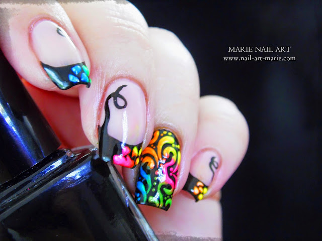 Nail Art Frenh et Arabesques Fluo8