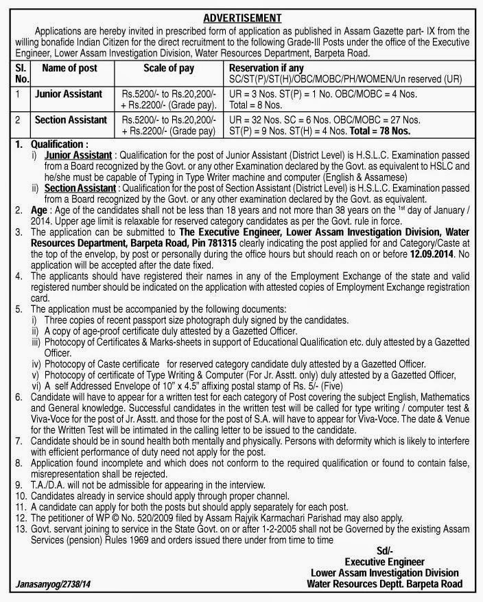 Online Government Jobs: Junior Assistant, Section Assistant