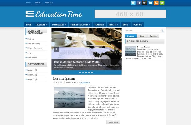 Education Blue White Jquery Blogger Theme Template