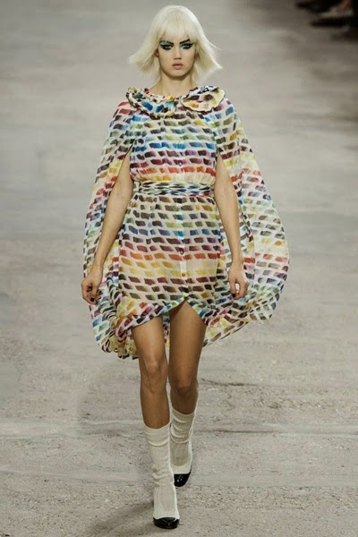Chanel SS 2014 Artistic Pantone Dress With Cape