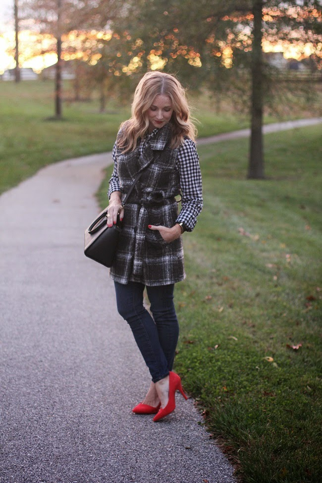 jcrew factory plaid shirt, JOA wool plaid vest, jcrew jeans, madewell pumps, michael kors handbag