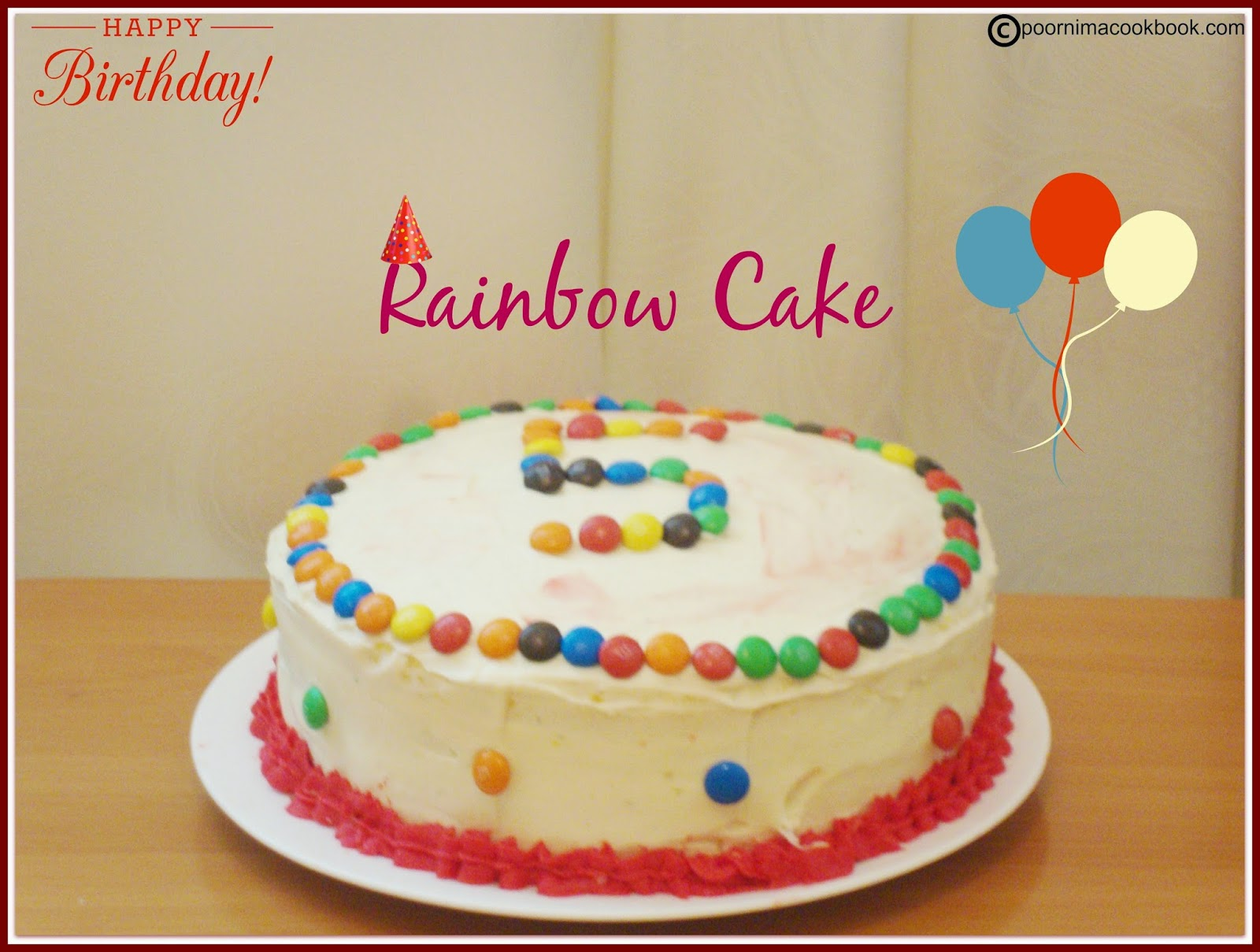 Poornima S Cook Book Rainbow Cake 4 Layer Cake Layered Rainbow