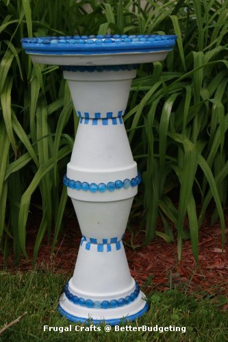 Paint checkerboard design on pots