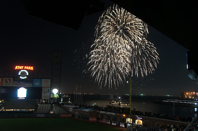 A special Memorial Day fireworks display over the bay at AT&T Park.