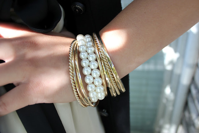 Forever 21 Gold Bangles Pearl Bracelet Arm Party