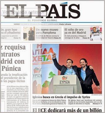 Πρωτοσέλιδο στην μεγάλη ισπανική εφημερίδα EL PAIS
