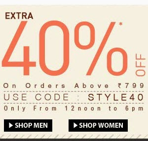 Jabong : Clothing, Shoes, Accesories, Bags & Home Furnishing upto 60% off + 40% off on Rs.799
