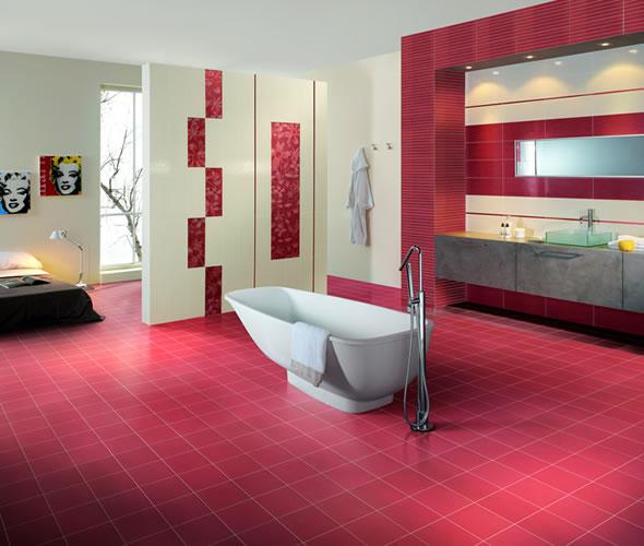 Baños Modernos Rojos:Decoration, cocinas, cocinas integrales: Colores brillantes para el