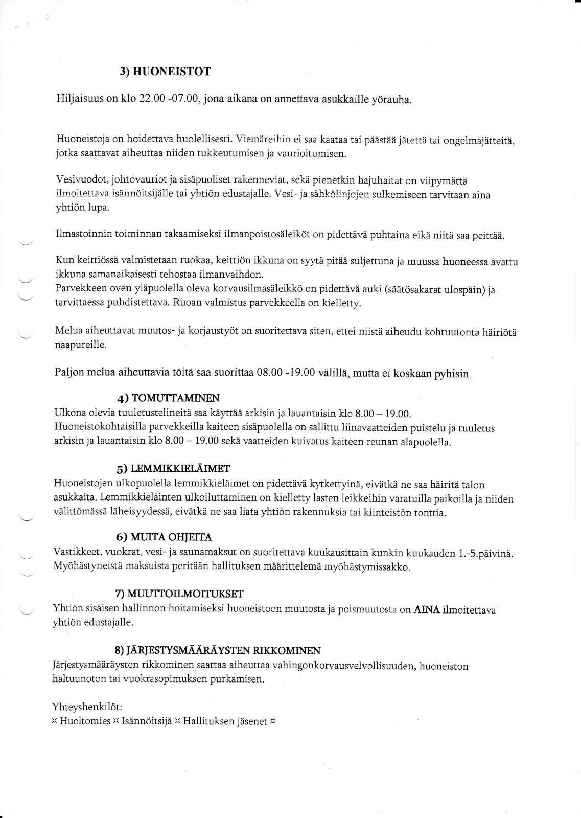 Taloyhtiön järjestyssäännöt