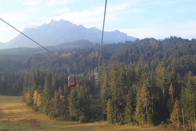 An aerial gondola in panoramic views at Mount Pilatus in Lucerne, Switzerland
