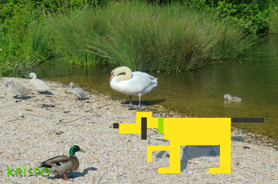 fotomontaje de pluto pixelado con patos y cisnes