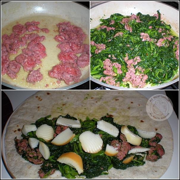 Piadina con friarielli, salsiccia e scamorza affumicata