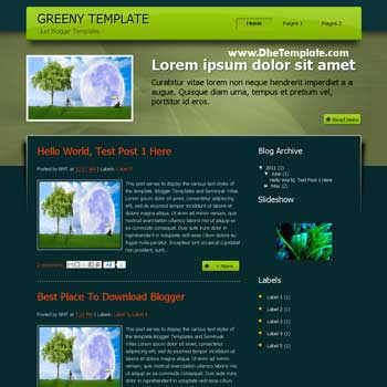 Greeny Blogger Template. wordpress theme to blogger template