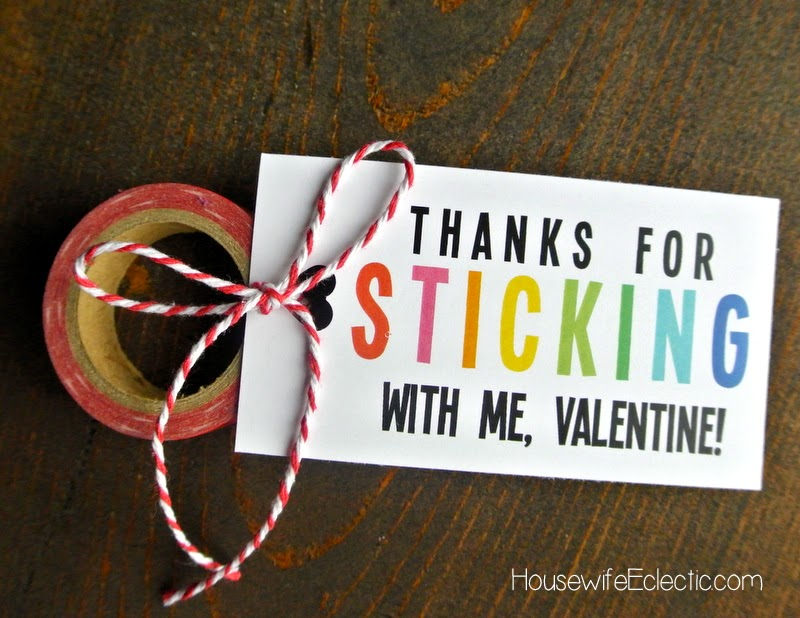 Free Printable Valentine Tag with 10+ Easy Gift Ideas - washi tape