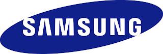Samsung Logo white in blue