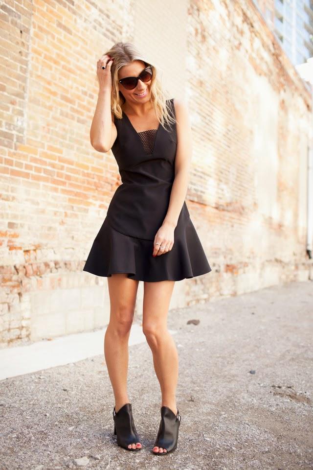 Black peep-toe, Finders Keepers Dress, Le Chateau shoe ambassadors