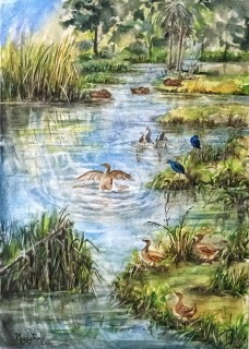 New Zealand Landscape Garden Pond Watercolor Painting on paper  size 29.5 x 42 cm