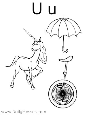 u is for umbrella coloring page  is for Umbrella, Unicorn, and