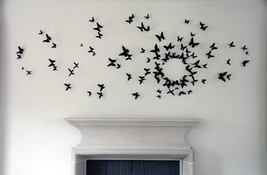 Fashionable interiors butterfly wall for Butterfly design on wall